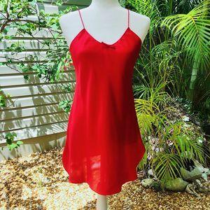 """VINTAGE """"VAL MODE"""" RED SATIN SLIP DRESS"""
